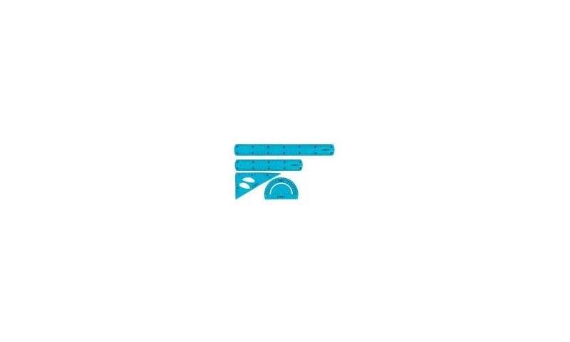 Linex Super-Flexi 20cm Ruler, Compass & Protractor Set, Blue & Pink Asstd