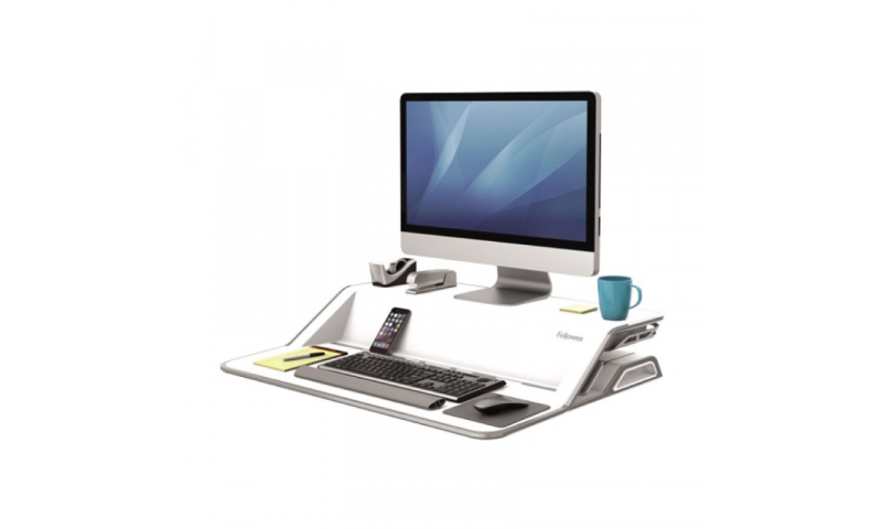 Fellowes FIRA Certified Lotus Sit Stand Workstation - White. (New Lower Price for 2021)