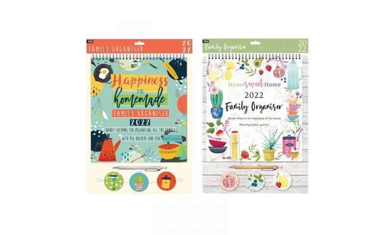 Calendar & Home Family Organiser 43x33cm with Peg Hangers & Pen, 2 Asstd