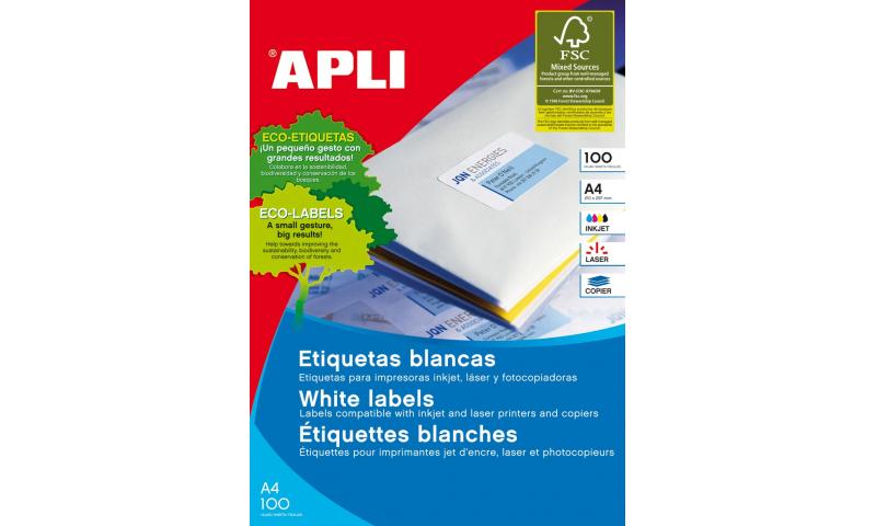 Apli A4 FSC Multipurpose Labels, 51 Per Sheet, 70mm x 16.9mm