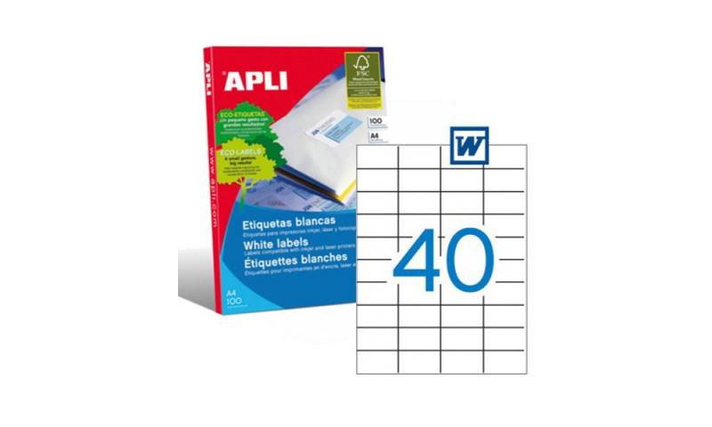 APLI A4 Heavy Duty Multipurpose Labels 40 Per Sheet 52.5 x 29.7mm 100 Sheets