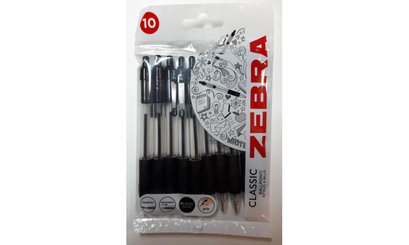 Zebra Z-Grip Ballpen - 10 pack Black, Handcarded (New Lower Price for 2021)