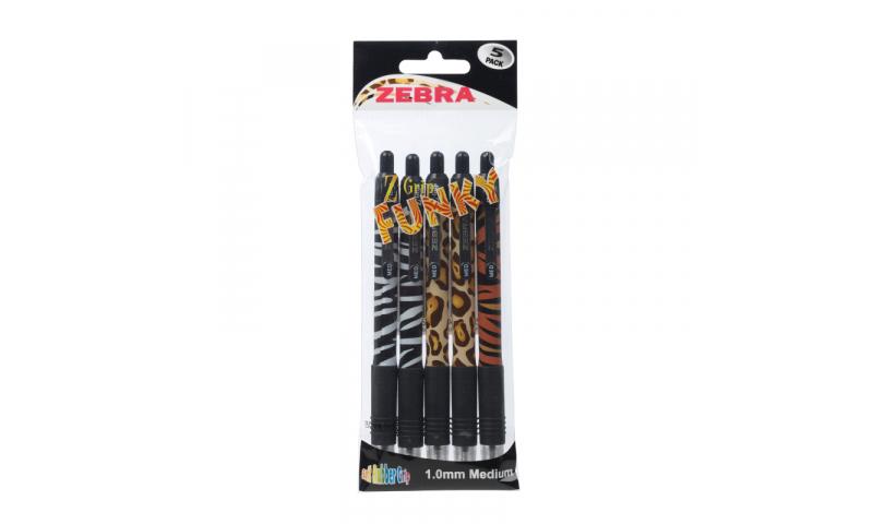 Zebra Z-Grip Funky Stripes - Wallet of 5 asstd