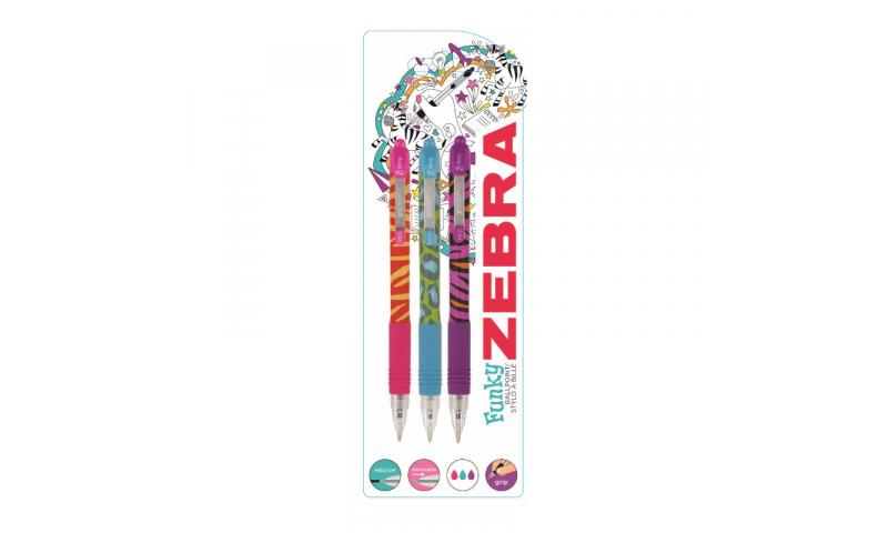 Zebra Z-Grip Funky Brights Ballpens - Card of 3 asstd