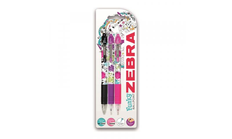 Z-Grip Funky Floral Ballpen 3pk, Carded