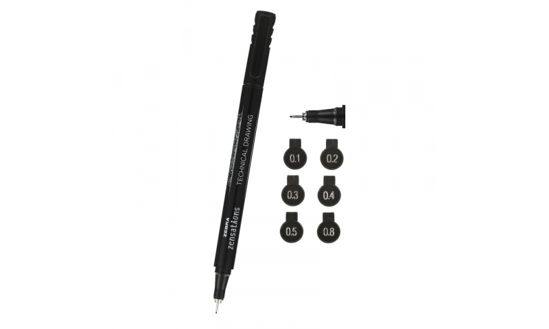 Zebra Technical Drawing Pens, Acid Free, Pigment Ink, Fade Proof, Card of 3, 0.2/0.4/0.8mm