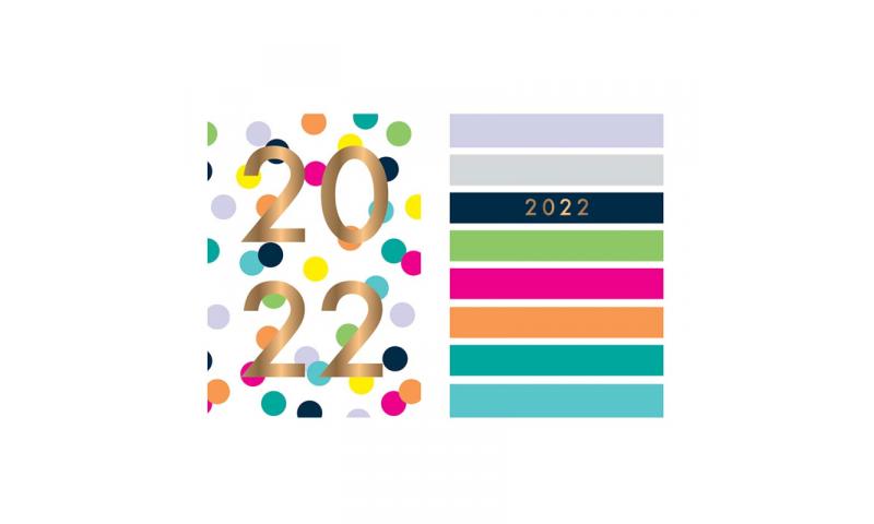 A6 Size Pocket Weekly Diary 2022, 2 Asstd, Spots & Stripes
