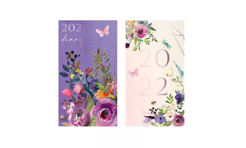 Slim Pocket Diary Weekly 2022, Vintage Flowers & Butterflies, 2 Asstd