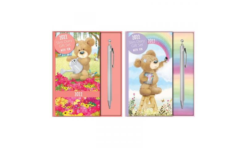 Slim 2022 Diary & Pen, Gift Boxed: Teddies Glitter with Ballpen,  2 Asstd