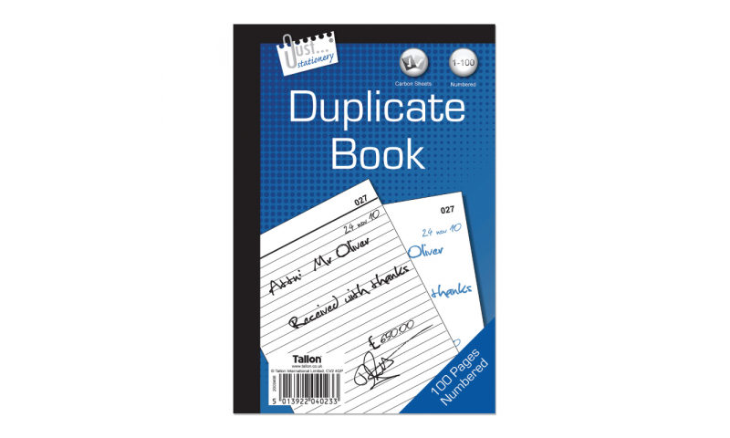 """Just Stationery Duplicate Book 8 x 5"""" 80 pages"""