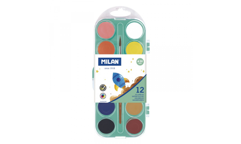 Milan Watercolour Tablets 30mm with Brush, 12 Colours