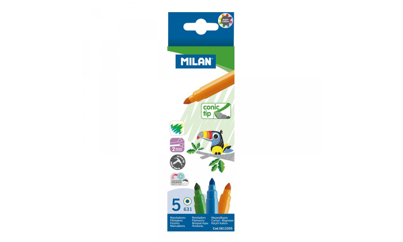 Milan MAXI Conic tip Large Fibre Tips, Box of 5 Colours