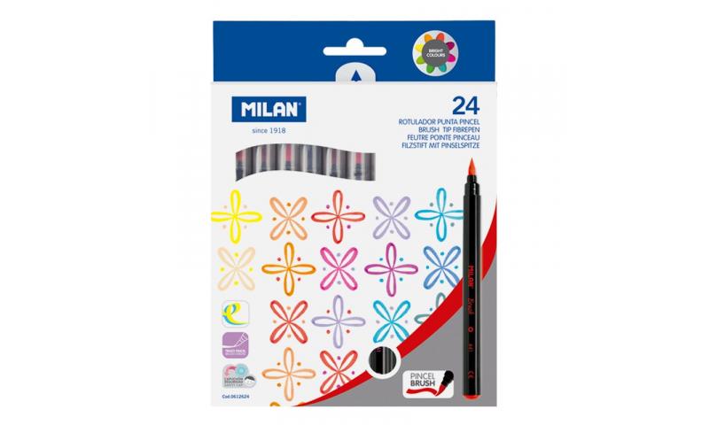 Milan Brush Tip Fibre Pens 24 Pack Asstd (New Lower Price for 2021)