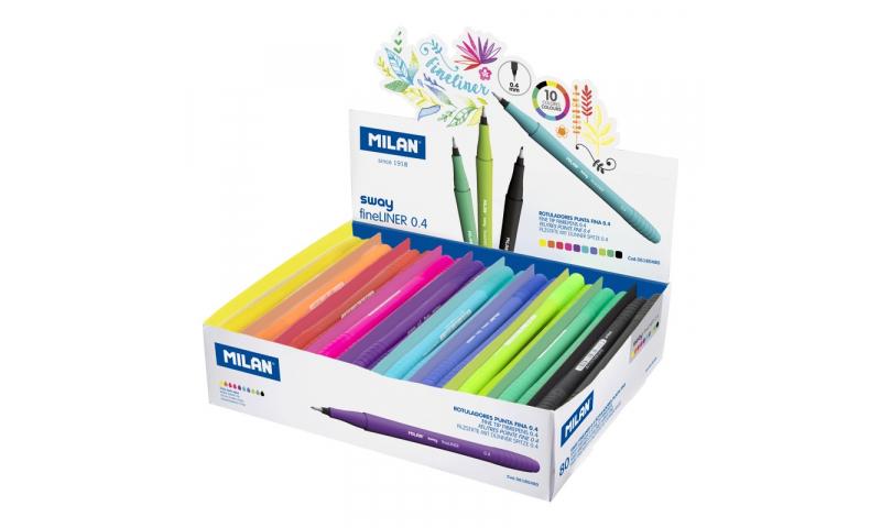 Milan Sway Fineliner Pens 0.4mm 10 Asstd Colours in CDU (New Design)