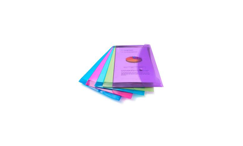 Rapesco A4 Popper Wallets, Bright asstd, Pack of 5. (New Lower Price for 2021)