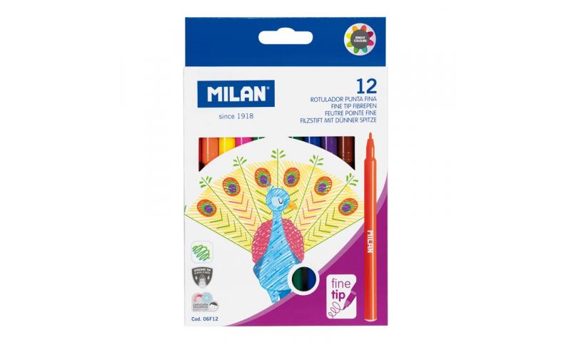 Milan Fine 2mm Point Washable Fibrepen Set of 12 Colours