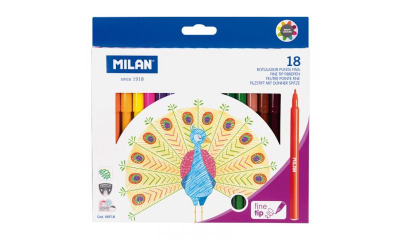 Milan Fine 2mm Point Washable Fibrepen Set of 18 Colours