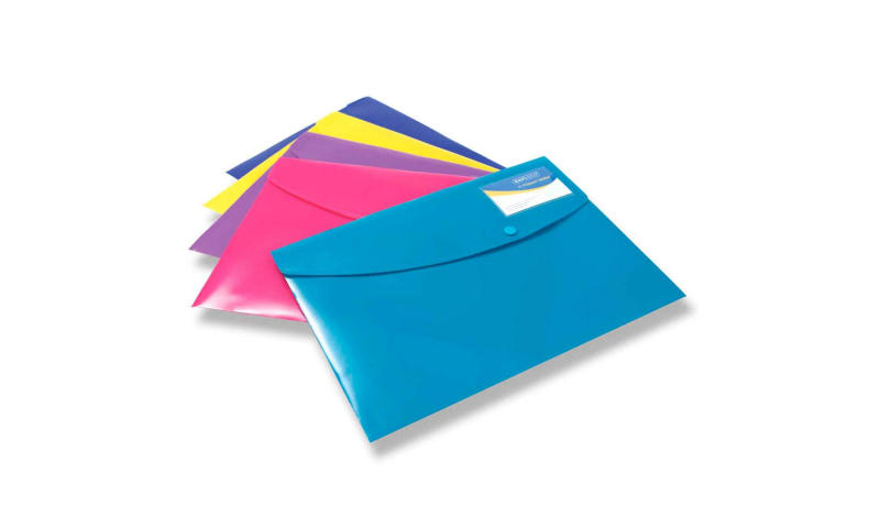 Rapesco A4+ Stud Wallets, Bright Colours, 5 Pack, with Card holder pocket