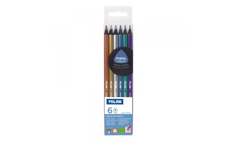 Milan Metallic Colour Pencils, Black Wood, 6 Pack Asstd.  (New Lower Price for 2021)
