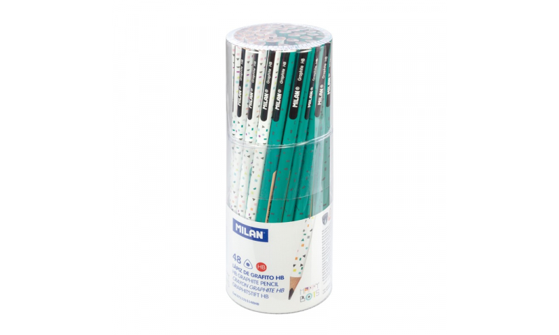 Milan Happy Bots Triangular HB Pencils, Tubbed Display (New Lower Price for 2021)