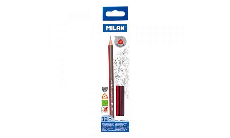 Milan HB Pencils, Quality Triangular Sustainable Wood - box of 12 (priced per pencil)