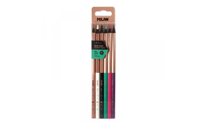 Milan Copper Series Colour Pencils, Black Wood, 6 Pack Asstd (New Lower Price for 2021)