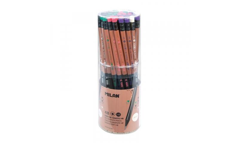 Milan Copper Series HB Black Wood Pencils, 5 Asstd - Display tub.