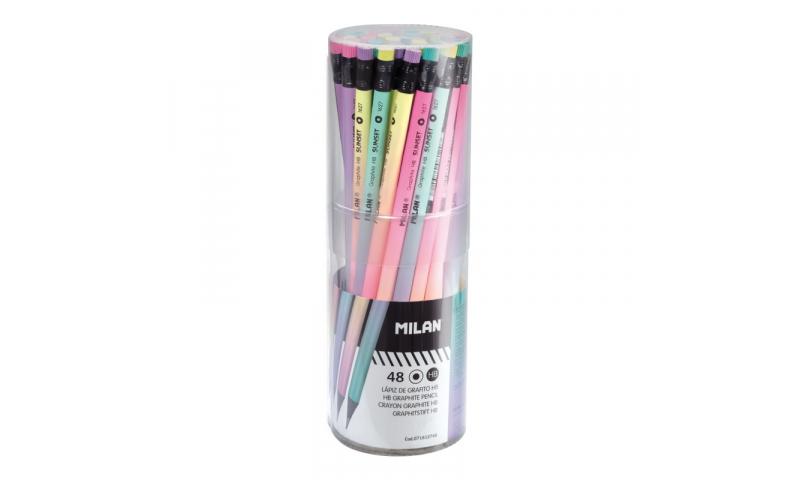 Milan Sunset Eraser Topped HB Pencils, 4 asstd, Display Tubbed (New Design)