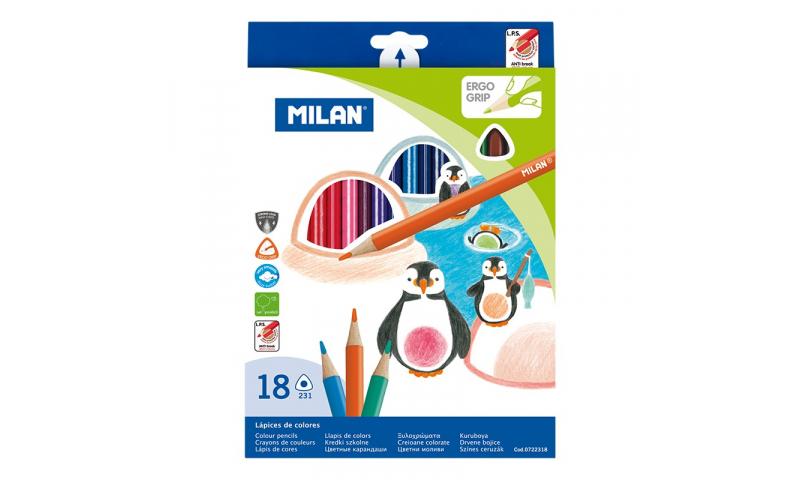 Milan Colour Pencils, Ergo Triangular, box of 18 Colours