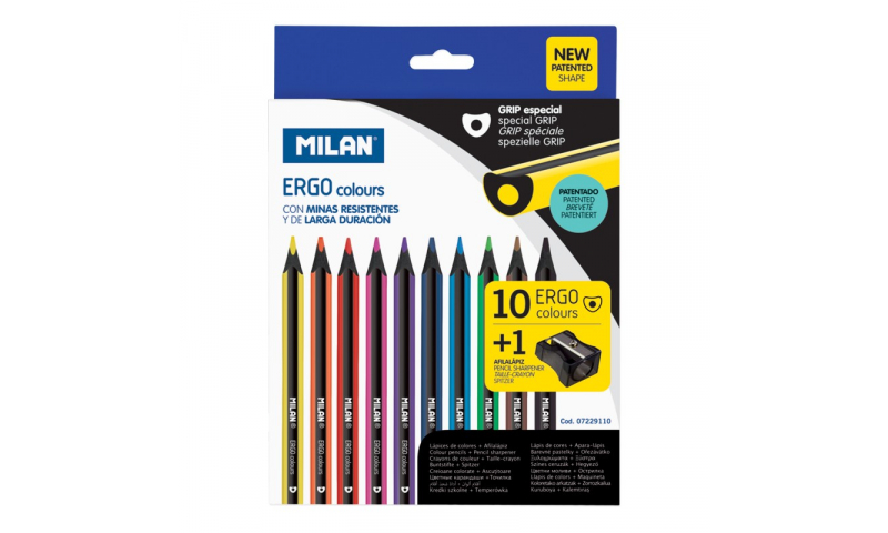 Milan Ergo Grip, Black wood Luxury Coloured Pencils, 10pk with Sharpener (New Lower Price for 2021)
