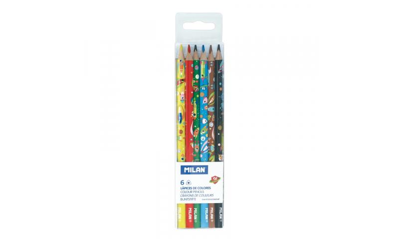 Milan Space Super Heroes Triangular Coloured Pencils, Hangpack of 6