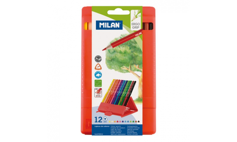 Milan PP Case with 12 Triangular Coloured Pencils (New Lower Price for 2021)