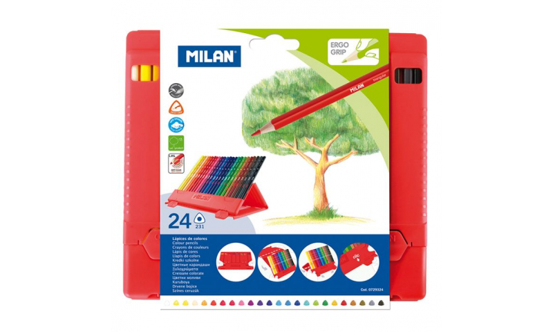Milan PP Case with 24 Triangular Coloured Pencils