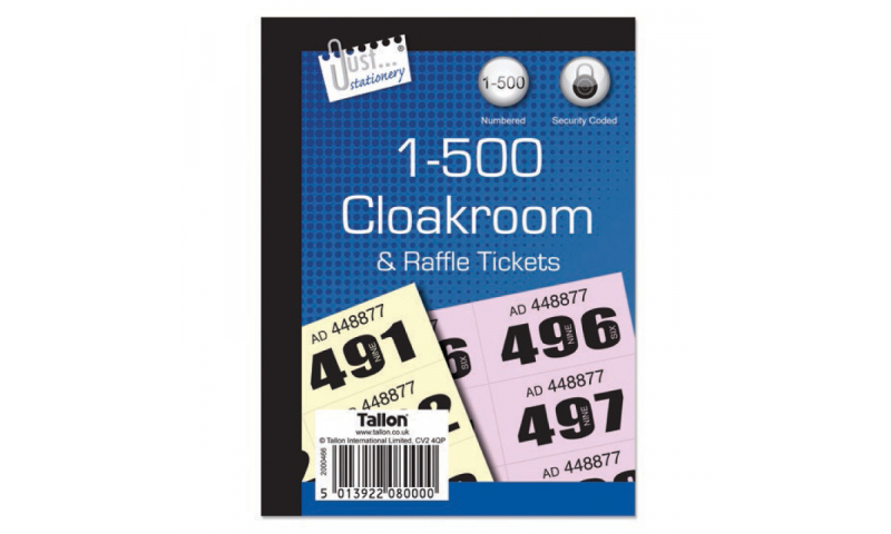 Just Stationery Cloakroom / Raffle Tickets 1-500 duplicate