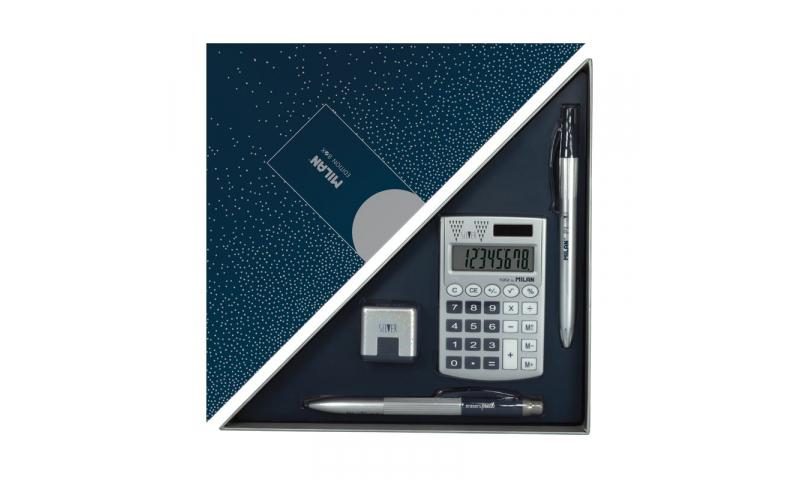 Milan Edition Box Silver set with Pen, Pencil, Eraser & Calculator