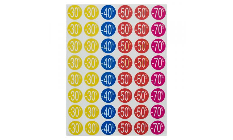 Apli Discount Labels -30/-70% Dim 24mm, 5 Sheets