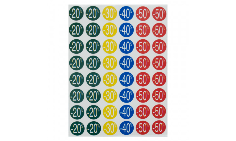 Apli Discount Labels, -20/-50% Dim 24mm, 5 Sheets