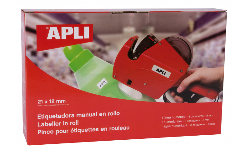 Apli 1 Digital Line Labeller 8 Characters Takes STD CTI Labels, 21x12 (New Lower Price for 2021)