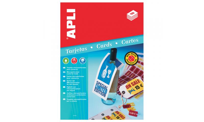 Apli Printable Strung Tags, 98x57mm, 10 Sheets,10 Per Sheet, Microperfed