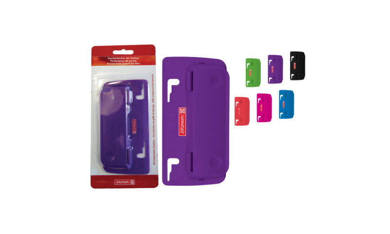 Brunnen Slim 2 Hole Paper Punch, Fits Over 2 Rings inside binder.  (New Lower Price for 2021)