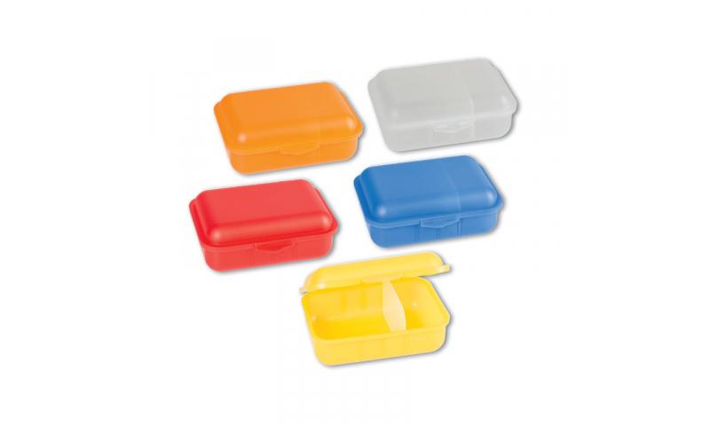 Brunnen PP Lunchbox with Clip & Inside Divider, 5 Asstd, 18x13x6.5cm