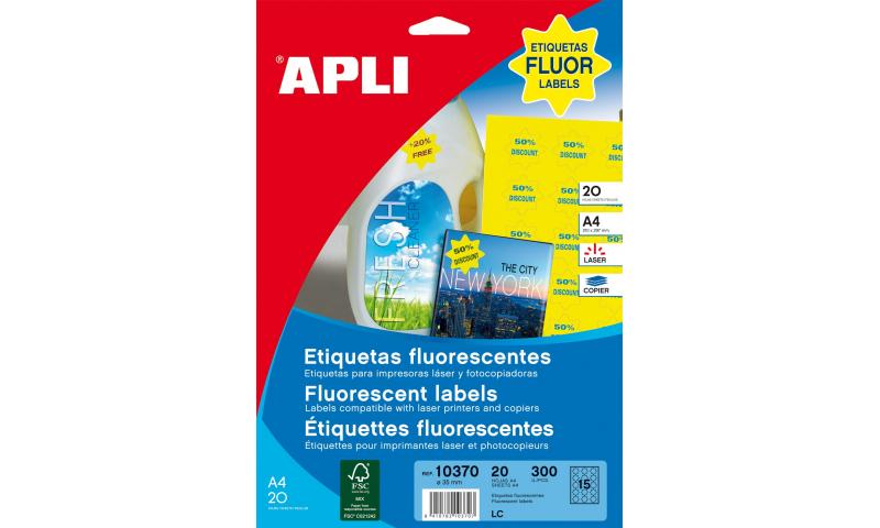 Apli A4 Florescent Star Labels 15 Per Sheet 35mm 20 Sheets