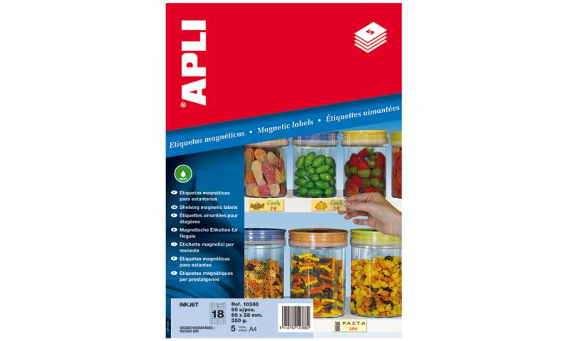 Apli Magnetic Shelf Edge Labels 80x28mm, 5 Sheets, 18 Per Sheet