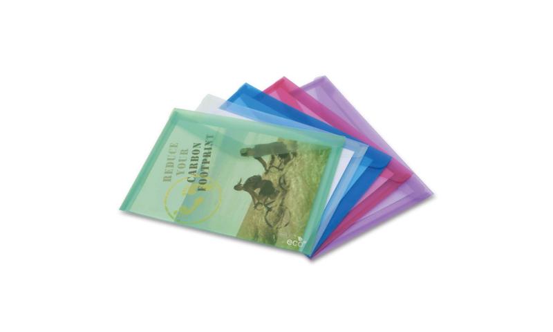 Rapesco Biodegradable A4 ECO Popper wallet with press stud closure. 5 pack, Asstd Colours