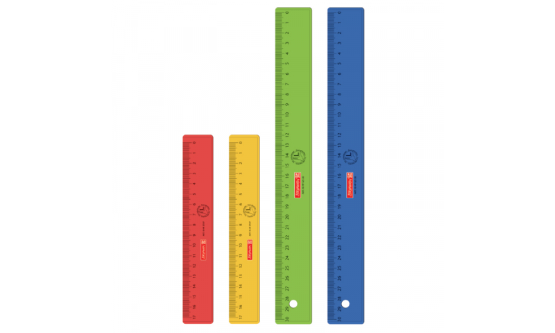 Brunnen Left Hander 30cm Ruler - scale from Right to Left, asstd colours.  (New Lower Price for 2021)