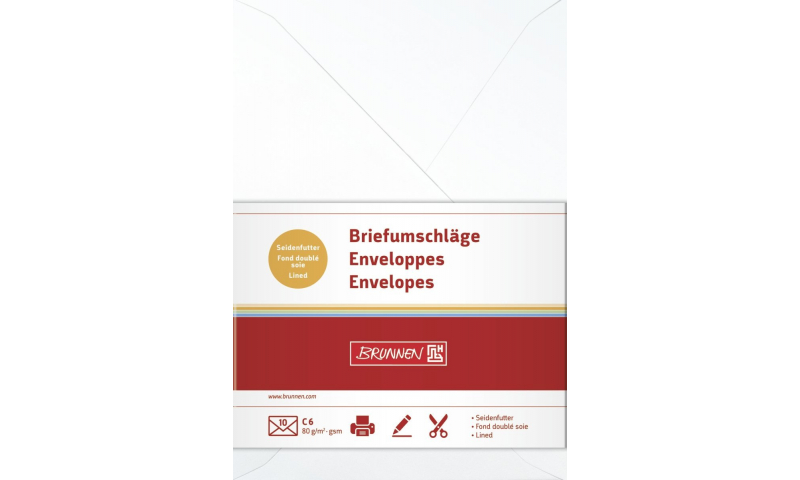 Brunnen C6 Envelopes 80gsm - Retail Packed in 10s - 9 colours available