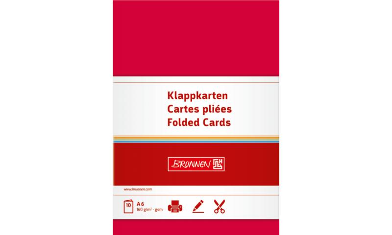 Brunnen Folded Card 160g A6, 10 Pack Red