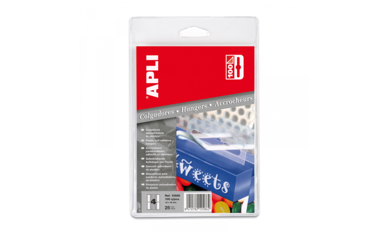 Apli Self Adhesive Plastic Eurohook Hangers, 25 Sheets, 4 Per Sheet