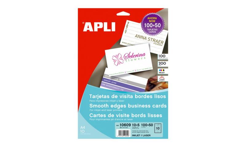Apli 200g White Printable Business Cards, 89x51mm 150pk