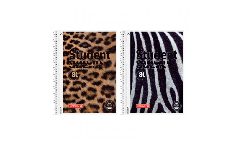Animal Skin Flocked Spiral A4 Refill Pad, 90g Squared Paper, 80 Sheets, 2 Asstd (New Lower Price for 2021)